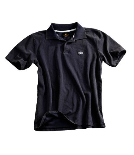 Polo Shirt Alpha Industries Vintage Style, Classic Polohemd washed schwarz, M (Alpha Classic Shirt Polo)