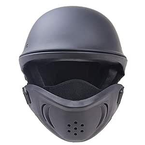 FidgetGear Cool Helmet DOT Certification Locomotive Retro Helmet Detachable Mask matte black XXL