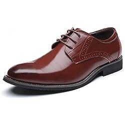 Zapatos Oxford Hombre, Brogue Cuero Boda Negocios Calzado Vestir Cordones Derby Negro Marron Azul Rojo Amarillo 37-48EU BR45