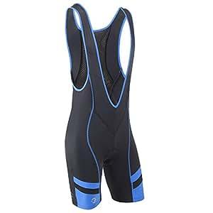 Tenn Mens Coolflo Bib Front Cycling Shorts with Pad - Black/Blue S