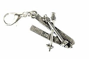 Miniblings Skier Ski Winter Charm Zipper Pull Anhänger Bettelanhänger Silber