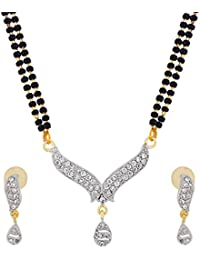 The Luxor Designer Regular Wear Australian Diamond Studded Unique Mangalsutra For Women(MS-1309)