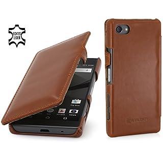 StilGut Book Type Case mit Clip, Hülle aus Leder für Sony Xperia Z5 Compact, Cognac