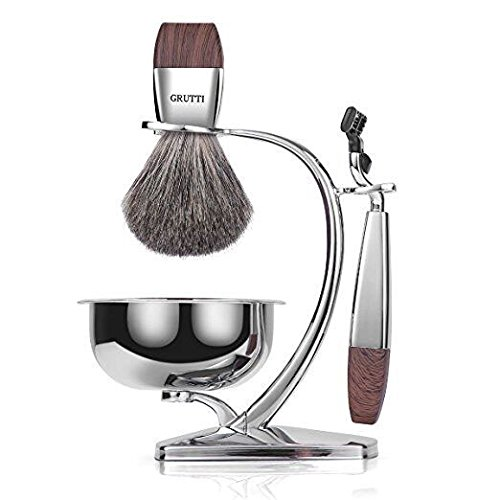 GRUTTI Razor Gift Sets for Men, Manual Razor Kit with Heavy-Duty Stand and Soap Bowl and Badger Hair Shaving Brush and Safety Razor (Gillette Mach 3)