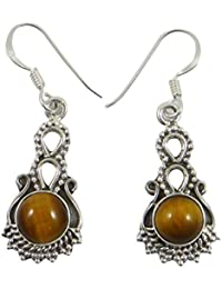 925 del ojo del tigre de la piedra preciosa de plata cuelga el pendiente de regalo indio joyería de la manera determinada por su