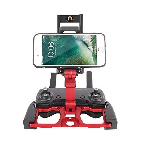 RC GearPro Foldable Aluminum Alloy Remote Control Monitor Holder Phone Tablet Monitor Screen Holder Bracket Mount Clip for DJI Mavic PRO/Mavic AIR/Spark CrystalSky Monitor (red)