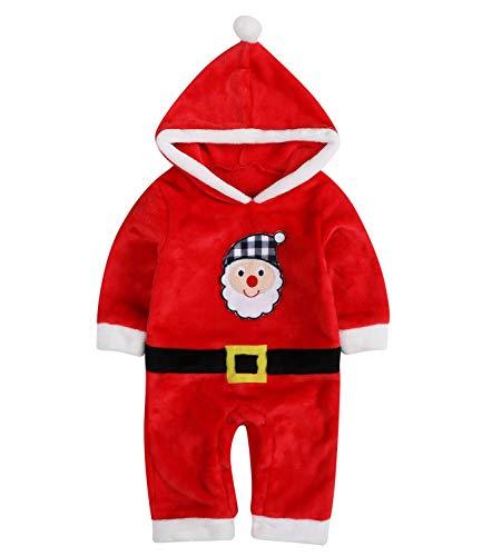 Le ssara boys girls christmas santa claus baby clothes pagliaccetto tuta con cappello (80, 16086)
