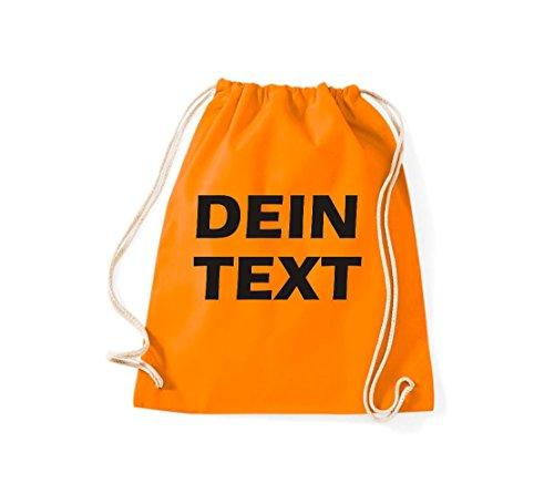 Shirtstown votre sac de gym avec texte d'idéal pour l'école ou le travail et freihzeit, plusieurs couleurs orange