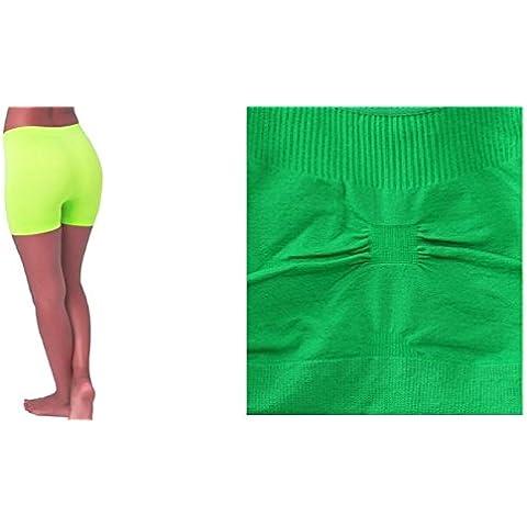 Kelly Verde, sin costuras espalda cruzada sujetador deportivo ejercicio yoga fitness Top sin + Amarillo Neón, sin costuras elástico Yoga pantalón corto color Spandex medias de bicicleta de