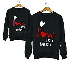 Idea Regalo - Coppia di Felpe Mamma - Figlio/Figlia Idea Regalo Festa della Mamma Love Mom And Baby (Bianco, Donna L - Bimbo 9/11)