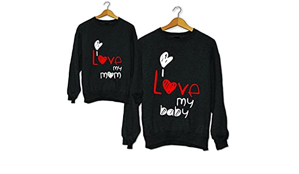 Coppia di Felpe Mamma Figlio//Figlia Idea Regalo Festa della Mamma Love Mom And Baby