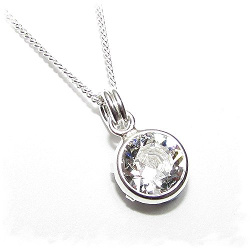 End of line clearance. 925 silver pendant and chain handmade with sparkling channel Diamond White crystal from SWAROVSKI.