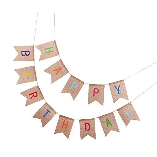 Sackleinen/Filz Wimpel Fahnen Girlande Banner Wimpelgirlande Hochzeit Baby Strand Parteidekor Banner - Jute Happy Birthday, 2,2 Meter ()