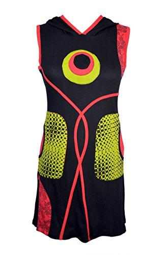 Vestito donne senza maniche con cappuccio e patch di Design Nero