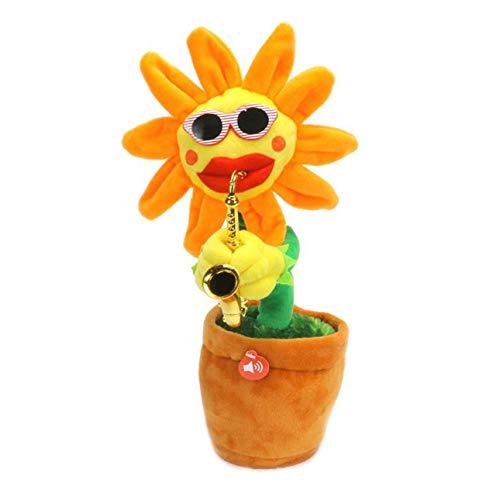 Ballylelly-Kreative Bezaubernde Sonnenblume singen tanzen Blume mit Saxophon 80 Songs lustige elektrische Musikspielzeug weiches Plüschspielzeug (orange - Spitzen Blütenblatt)