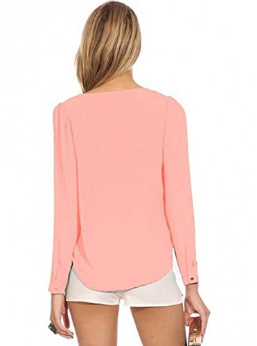 LaoZan Damen Langarmshirt Elegant Bluse Mit Reißverschluss V-Ausschnitt Pullover Oberteil Pink