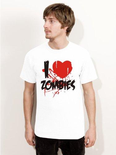 T-Shirt Halloween I LOVE ZOMBIES H1-Herren weiss - Größe - Weiße Halloween-kostüm Van