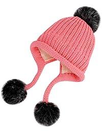 42af53158a ITODA Enfants Filles 3-8ans Bonnet Chaud en Laine Chapeau Crochet avec Pompon  Bonnet Hiver