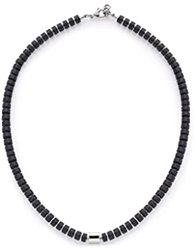 Leonardo Jewels Damen Herren Halskette Men Como Edelstahl Glas schwarz 48 cm 016429