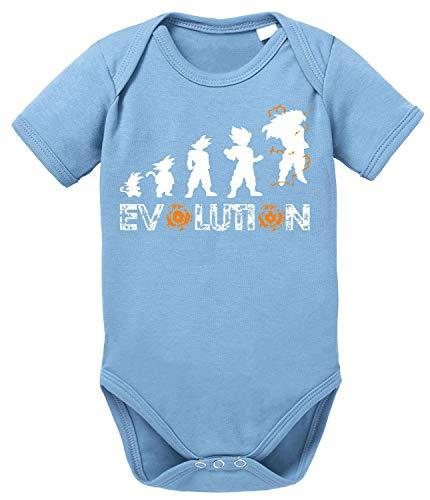 Evolution Dragon Son Baby Ball Strampler Bio Baumwolle Body Jungen & Mädchen 0-12 Monate, Größe:74/7-9 Monate, Farbe:Babyblau