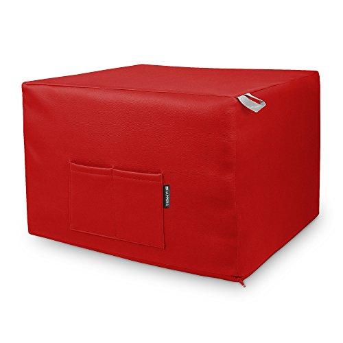 HAPPERS Puff Rojo Convertible en Cama cómoda con Funda de Polipiel incluida,...