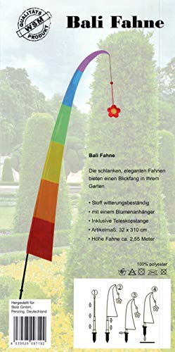 Bali Fahne Gartenfahne - Regenbogen - mit hochwertigen Glasfiberstangenelementen, 100{8b68850d14456814d7718e2b397ceff6395cd41690dc2df70f1e2787a34df813} Polyester, Stoff witterungsbeständig, mit einem Blumenanhänger, inklusive Teleskopstange und Erdspiess, Artikelmass: 32 x 310 cm, Höhe Fahne ca. 320cm