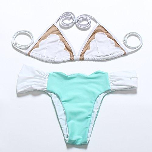 YONGYI Western gaze Gravur Blüten Zauber Farbe split Bikini kleine schöne frische Frau Spa bikini Badeanzug Weiß