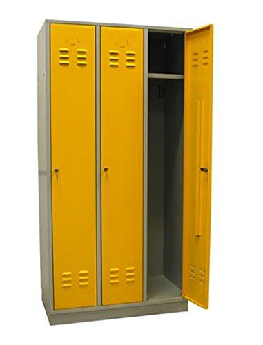 ADB Metall-Spind/Garderobenschrank/Umkleideschrank, 3-türig, Hergestellt in der EU, aus Qualitätsstahlblech, Rapsgelb/Kleiderspind/Stahl-Spind/Metallspind