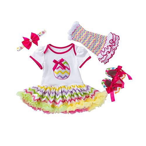 4Pcs Baby-Ostern Outfit Ostereier Spielanzug-Kleid Stirnband Beinlinge Schuhe Set für Säuglingsbaby-Rose Red 73cm