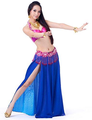 Show Tanz Kostüme Weihnachts (Dance Fairy marineblau Belly Dance Set sexy BH und Hüfttuch und langen Rock Bauchtanz Kostüm)