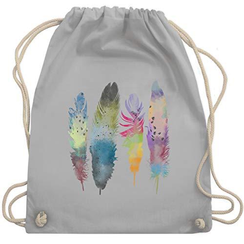 Boheme Look - Federn Wasserfarbe Watercolor Feathers - Unisize - Hellgrau - WM110 - Turnbeutel & Gym Bag
