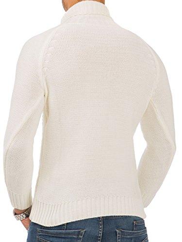 Pullover Herren Strickpullover Winter Pulli Tazzio Slim Fit Langarm Strick Ecru - 16-472