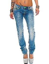 Cipo & Baxx Damen Jeans Designer Hose Hüftjeans Skinny Regular Fit Stretch Dicke Naht