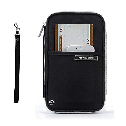 TAOPE Cartera de viaje,Portatarjetas de viaje familiar Organizador de documentos con soporte de pasaporte con bloqueo RFID para hombres mujeres