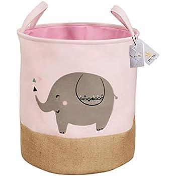 White Znvmi Kids Toys Storage Basket Grey Elephant Canvas Laundry Basket Large Foldable Washing Bin Baby Clothing Storage Nursery Organizer Oval