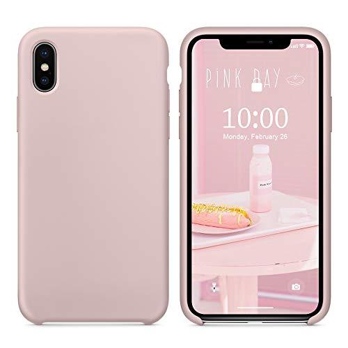 SURPHY iPhone XS Silikon Hülle, iPhone X Hülle, Schutzschale vor Stürzen und Stößen Silikon Handyhülle für Apple iPhone XS(2018) iPhone X(2017) 5,8 Zoll (Sand Rosa)
