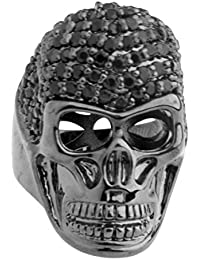 .iced-out. Bling Micro Pave Ring - 3D Skull schwarz