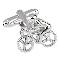 AMDXD Jewelry Stainless Steel Men's Shirt Cufflinks Classic Modelling Of A Bike Silver LEN 2.1CM