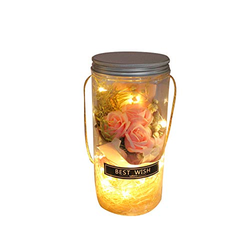Rose im Glas wünschen Flasche Pink LED Enchanted Rose Valentinstag Wedding Favor-Dekor-Rosen-Blumen-Lampe (Gläser Wedding Favor)