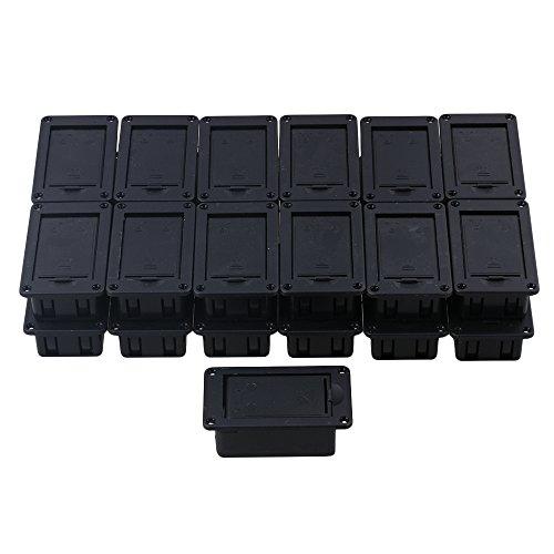 yibuy schwarz Flip Typ 9V Batteriehalter für Gitarre Bass Active Pickup Set 25Stück Flip-typ