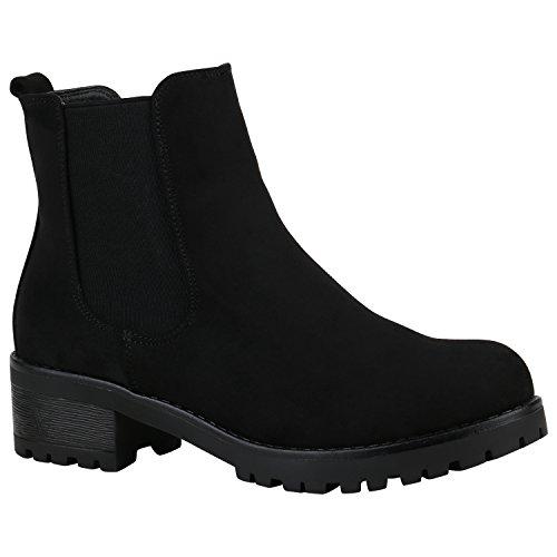 Damen Schuhe Chelsea Boots Wildleder-Optik Stiefeletten Leicht Gefüttert 152222 Schwarz Matt 40 Flandell (Wildleder-bootie Schwarze)