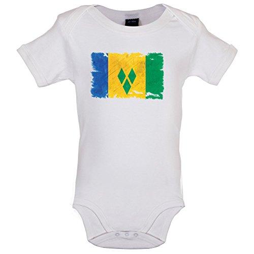Saint Vincent and the Grenadines / St. Vincent und die Grenadinen Flagge im Grunge-Stil - Lustiger Baby-Body - Weiß - 12 bis 18 Monate