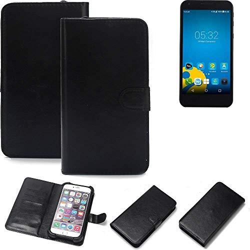 K-S-Trade Wallet Case Handyhülle Vestel 5000 Dual-SIM Schutz Hülle Smartphone Flip Cover Flipstyle Tasche Schutzhülle Flipcover Slim Bumper schwarz, 1x