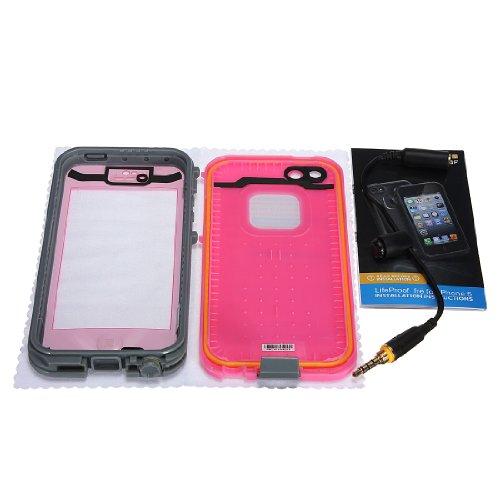 Custodia Rigida Impermeabile Antiurto PC Waterproof Shockproof Dirt Snow Proof Hard Cover Case Per iPhone 5 5S Blu rosa