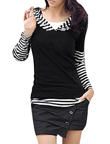 Allegra K Femmes Manches Longues Décontracte Motif À Rayures Patchwork Chemise À Capuche noir,blanc