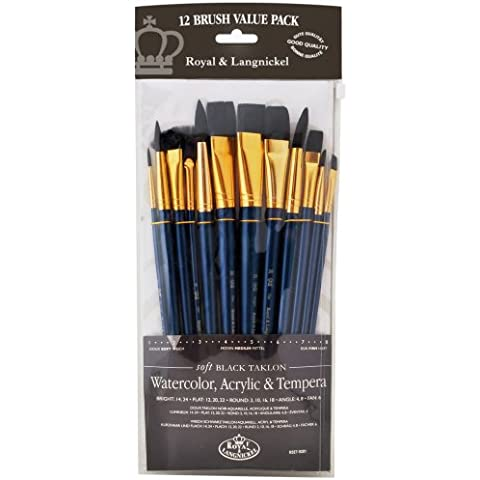 Royal and Langnickel RSET-9301 - Set di pennelli in varie misure con setole morbide in taklon, confezione da 12, colore: nero - Langnickel Pennelli