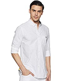 Amazon Brand - House & Shields Men's Printed Slim fit Casual Shirt