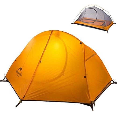 TRIWONDER Camping Zelt 1-2 Person 3 Saison Backpacking Zelt Leichte Wasserdichte Doppelschicht für Camping Wandern Reise (Orange - 1 Person)