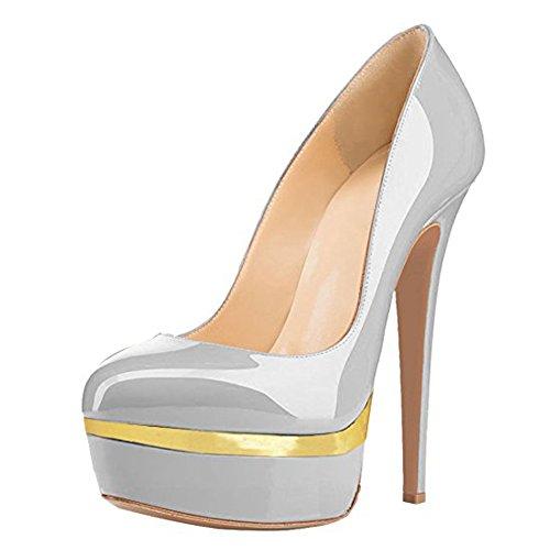 Damen Open Toe Plateau Stiletto High Heel Pumps Schluepfen Party Schuhe Grau