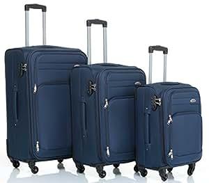 8005 3pc. 4 roues Reisekofferset valise en tissu luggage set chariot valise valise en 5 couleurs (bleu)